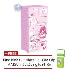 Tủ nhựa Duy Tân MINA 5 tầng tặng kèm bình giữ nhiệt MATSU cao cấp 1,5L màu ngẫu nhiên