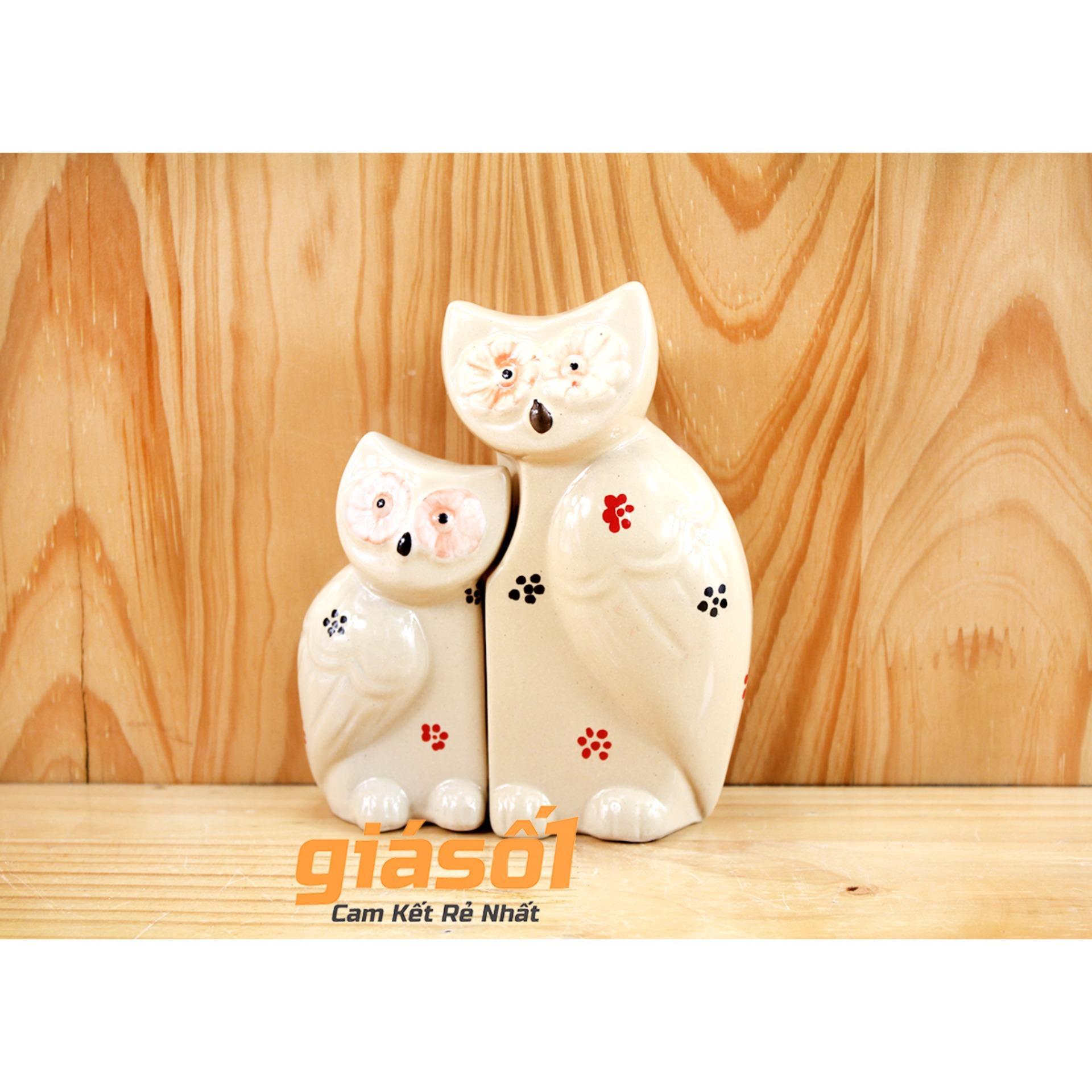 Hình ảnh Tượng trang trí Cú Mèo cỡ nhỡ gốm sứ Bát Tràng