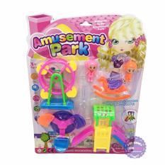 Hình ảnh Vỉ đồ chơi công viên: cầu tuột, đu quay, ngựa & 2 bé bằng nhựa