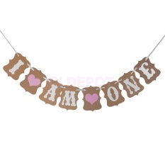 Hình ảnh Vintage 1st Birthday Party Bunting Banner Baby Girl Pink Decoration I Am One - intl