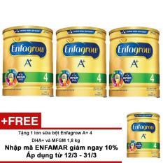Bộ 3 lon Sữa bột Enfagrow A+ 4 DHA+ và MFGM 1,8 kg + Tặng 1 lon sữa bột Enfagrow A+ 4 DHA+ và MFGM 1,8 kg