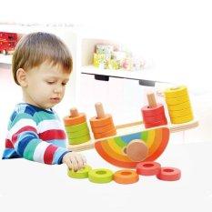 Hình ảnh Weiyue Novelty Funny Toys Wooden Rainbow Balance Colorful Beads Educational Blocks Puzzle Toys Set - intl