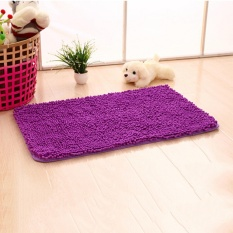 Winter Soft Shaggy Non Slip Absorbent Bath Mat Bathroom Shower Rugs Carpet Gray Purple - intl