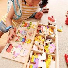 Hình ảnh Bằng gỗ cho bé gấu trẻ em thay đổi quần áo bé trai cho bé xếp hình ghép khối xây dựng-quốc tế