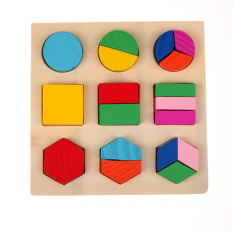 Hình ảnh Wooden fraction shape puzzle toy for Montessori early learning A54 (Intl)