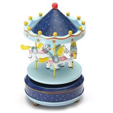 Hình ảnh Wooden + Plastic Merry-Go-Round Carousel Music Box Christmas Birthday Gift Toy - intl