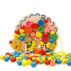 Hình ảnh Wooden Toys Hedgehog Lacing Beads Fruit Learning Kids Gift Brand Top bright Educational Soft Montessori children intelligent - intl