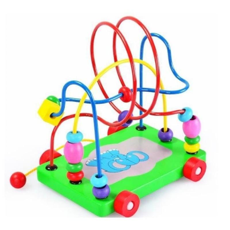Xe kéo hạt mê cung đồ chơi gỗ- Đồ chơi giáo dục