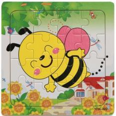 Hình ảnh xếp hình bằng gỗ 16 miếng hình con ong xinh xắn cho bé