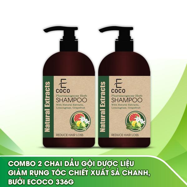 Combo 2 chai dầu gội dược liệu giảm rụng tóc chiết xuất sả chanh, bưởi Ecoco 336g