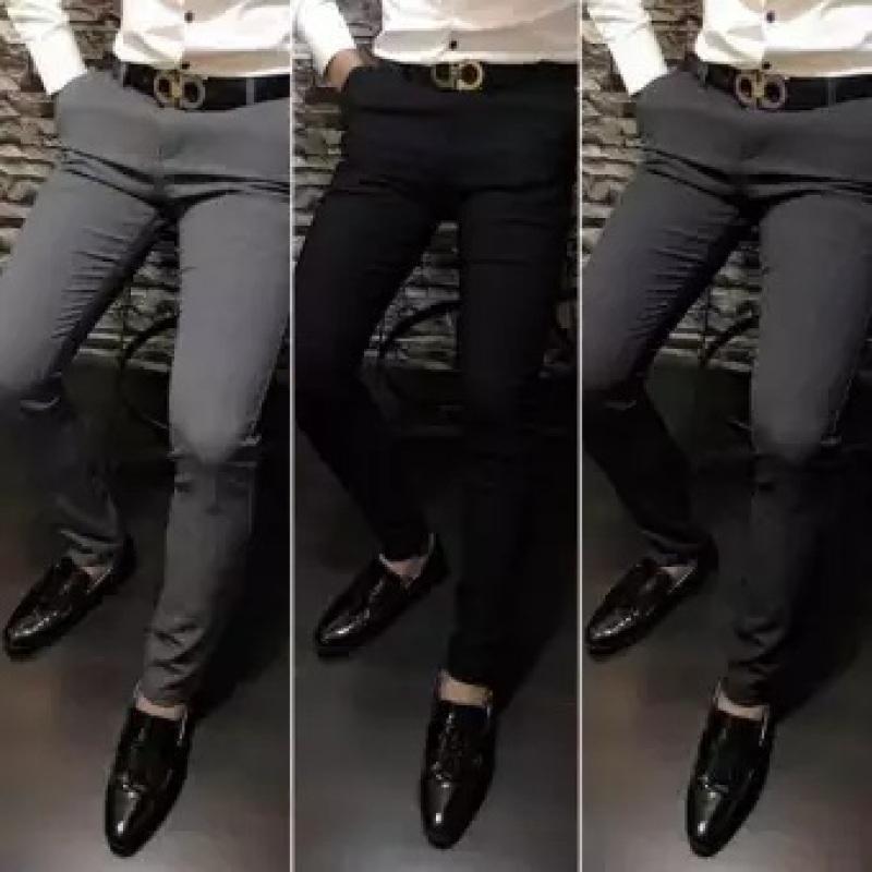 Quần tây nam, quần tây âu nam, quần vải nam Hàn Quốc chất liệu vải dày dặn, ống đứng xếp li, ôm dáng người mặc (Đen)
