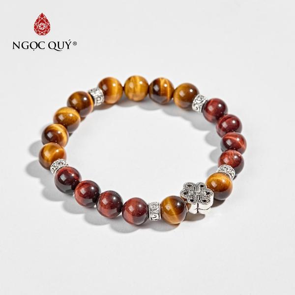 Vòng Tay Phong Thủy Nữ Đá Thạch Anh Mắt Hổ Phối Charm Bạc 9mm Mệnh Thổ , Kim - Ngọc Quý Gemstones