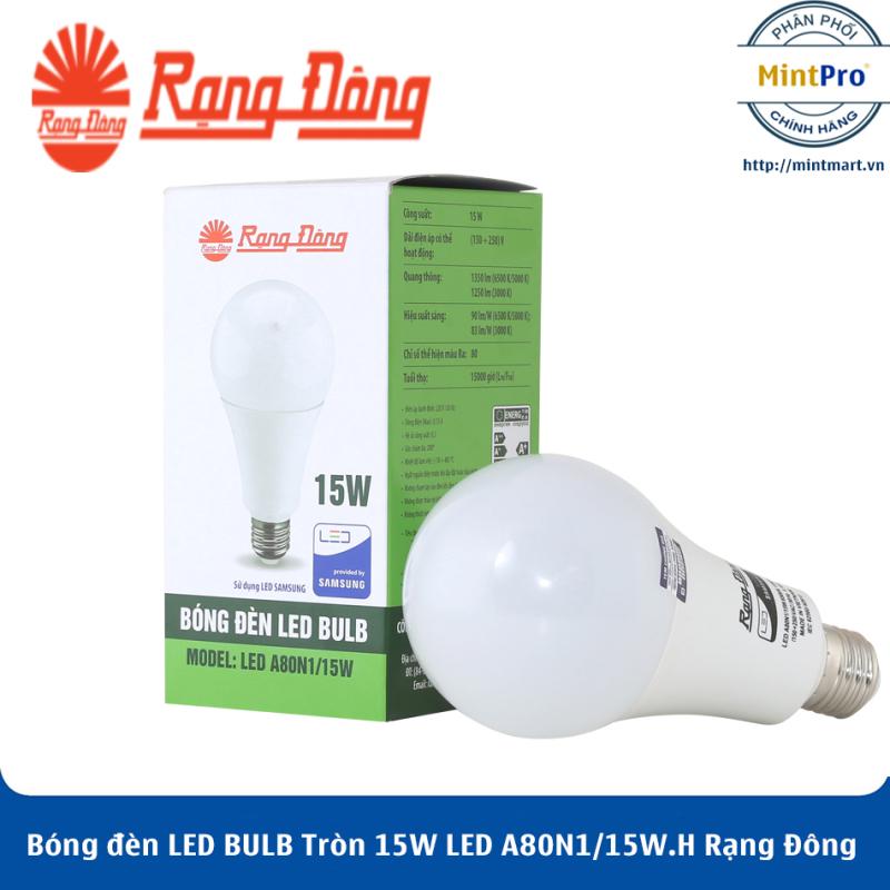 Bóng đèn LED BULB Tròn 15W LED A80N1/15W.H Rạng Đông - Hàng Chính Hãng