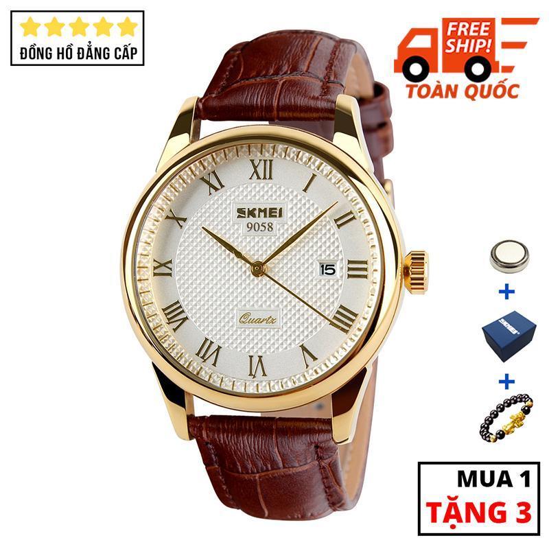 Đồng hồ nam dây da cao cấp chịu va đập chống xước SKMEI SK021 - Arman Watches (Trắng)