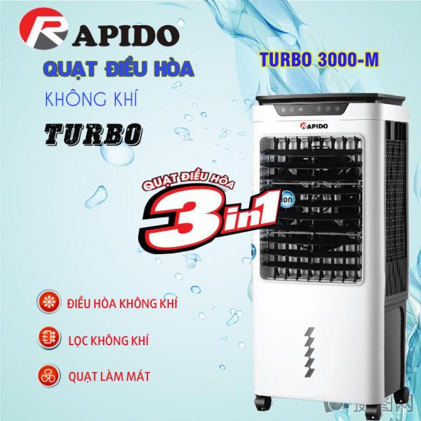 FLASH SALES!! Quạt điều hòa hơi nước chính hãng RAPIDO TURBO 3000-M - Máy lọc không khí công suất lớn giá rẻ - tái tạo ION không khí - điều khiển từ xa - bảo hành lên đến 12 tháng, đổi trả nếu phát sinh lỗi của nhà sản xuất
