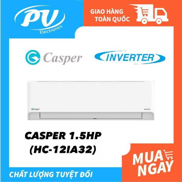 Máy lạnh Casper INVERTER1.5 HP HC-12IA32 Mới 2021 - Chế độ chỉ sử dụng quạt - không làm lạnh, Chức năng Smart - Tự động cảm biến nhiệt độ phòng, Hẹn giờ bật tắt máy, Làm lạnh nhanh tức thì, Tự khởi động lại khi có điện