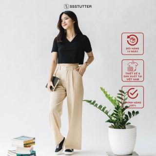 Quần dài nữ SSSTUTTER chất linen thoáng mát dáng rộng Culotter Tailored Pants thumbnail