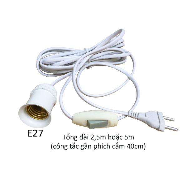 Bảng giá Đui đèn liền dây có công tắc và phích cắm dài 2,5m 5m đuôi đèn E27 LH-S-P-xm