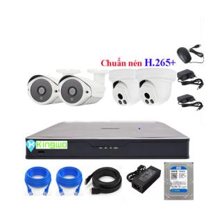 Trọn bộ camera 4 mắt - trọn bộ 4 camera - Bộ KIT 4 camera IP (2 Dome+2 Thân) 3.0MP KingWo [ TÍCH HỢP MIC ] - Có ổ cứng 500G,mắt KIM LOẠI chống nước-Bảo hành 2 năm 1 đổi 1 thumbnail