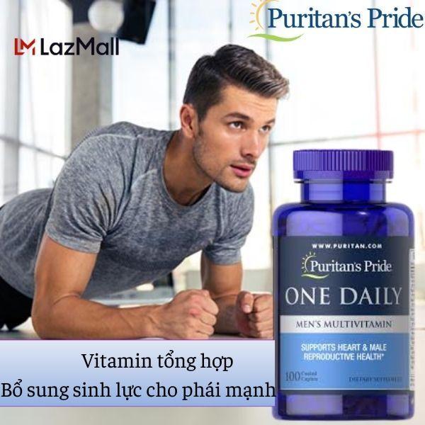 VITAMIN ĐA SINH TỐ Tăng cường miễn dịch, chống nhiễm virus Covit (HSD: 02/2022)- tăng cường nam tính, cho người hiếm muộn  - One daily men 100 viên của Puritans Pride
