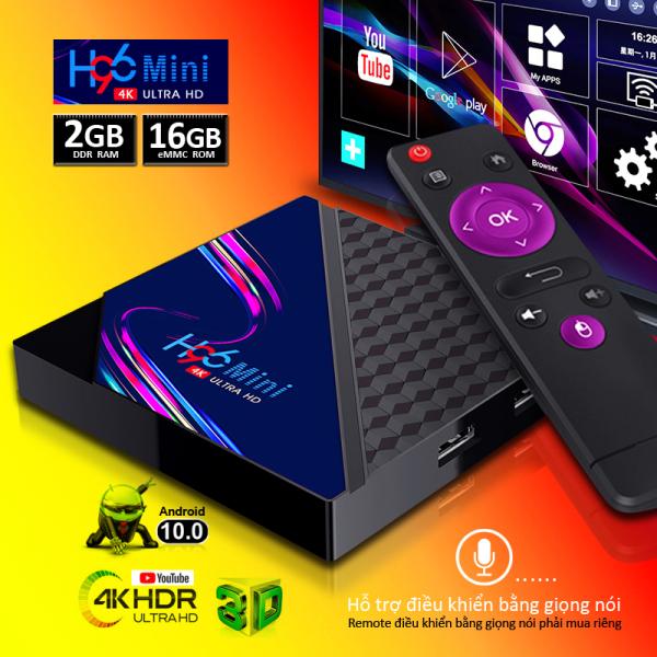 Tivi box bộ nhớ 16G Ram 2G hỗ trợ chức năng tìm kiếm bằng giọng nói android tv box xem phim cực nét 4K đa ứng dụng bảo hành 1 năm H96miniV8 box tivi andrdoid