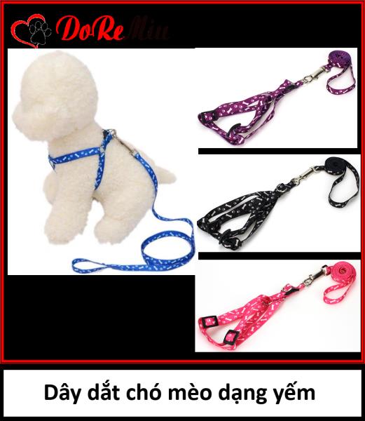 Doremiu - Dây dắt chó mèo dạng yếm loại 1 lớp dây xích chó vải mỏng 2 size