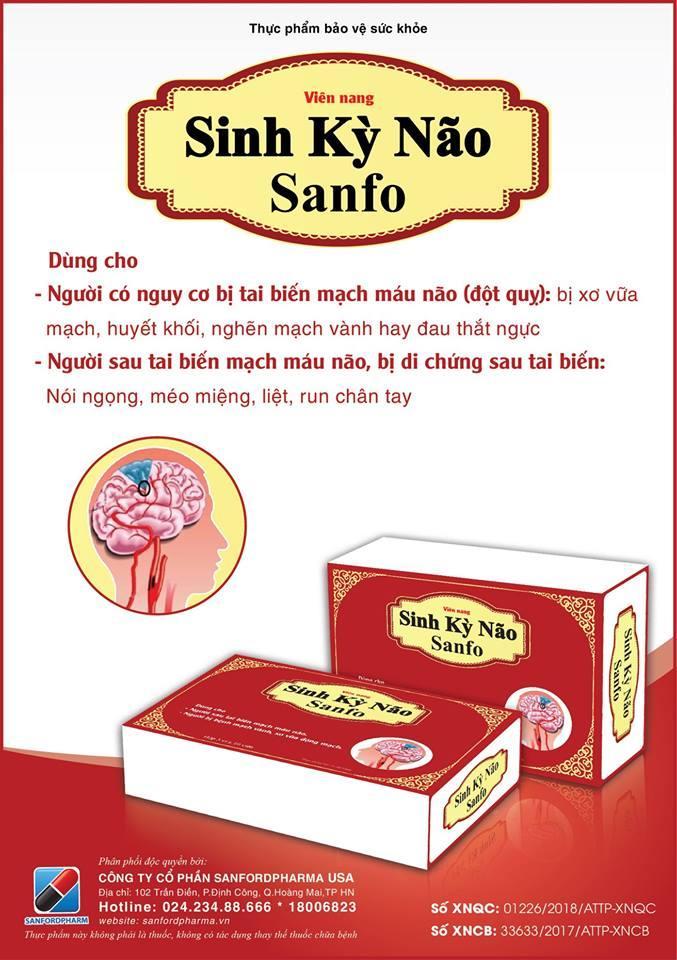 SINH KỲ NÃO SANFO - Hỗ trợ hoạt huyết, thông mạch