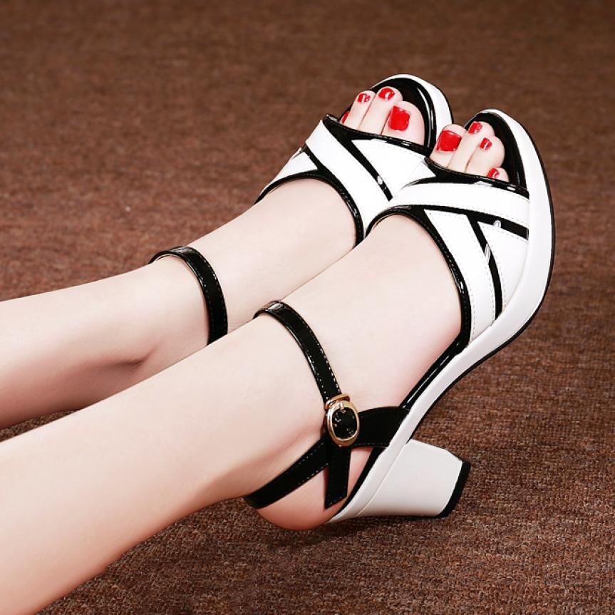 Giày sandal cao gót đế vuông 5 phân quai da bóng - CG77 giá rẻ