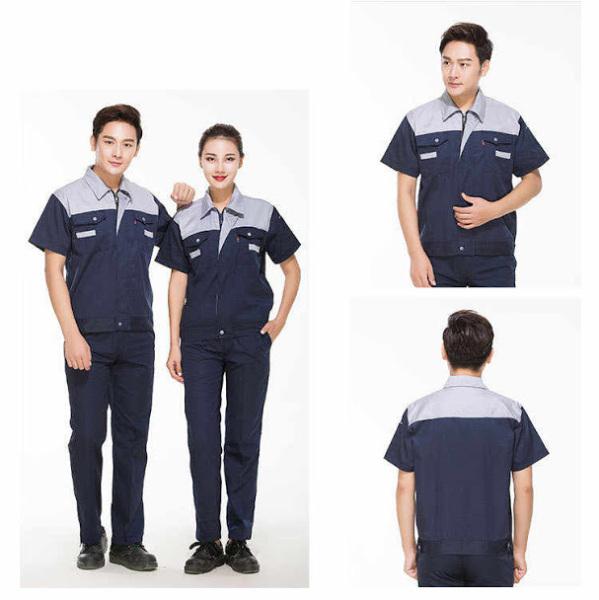 Quần áo đồng phục bảo hộ lao động nam nữ mùa hè SHUNI - 011B kaki loại dày khóa kéo than phối xanh dành cho công nhân, kỹ sư, xây dựng, làm việc
