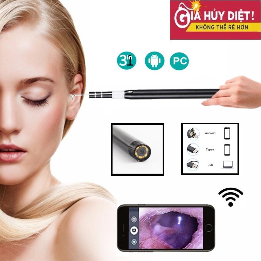 Camera Nội Soi Tai Mũi Họng Vệ Sinh, Lấy Ráy Tai 3 Trong 1 Độ Phân Giải 1280*720P Tích Hợp 6 Đèn Led - Dây Dài 1.5m - Chuẩn USB/Micro USB/Type C