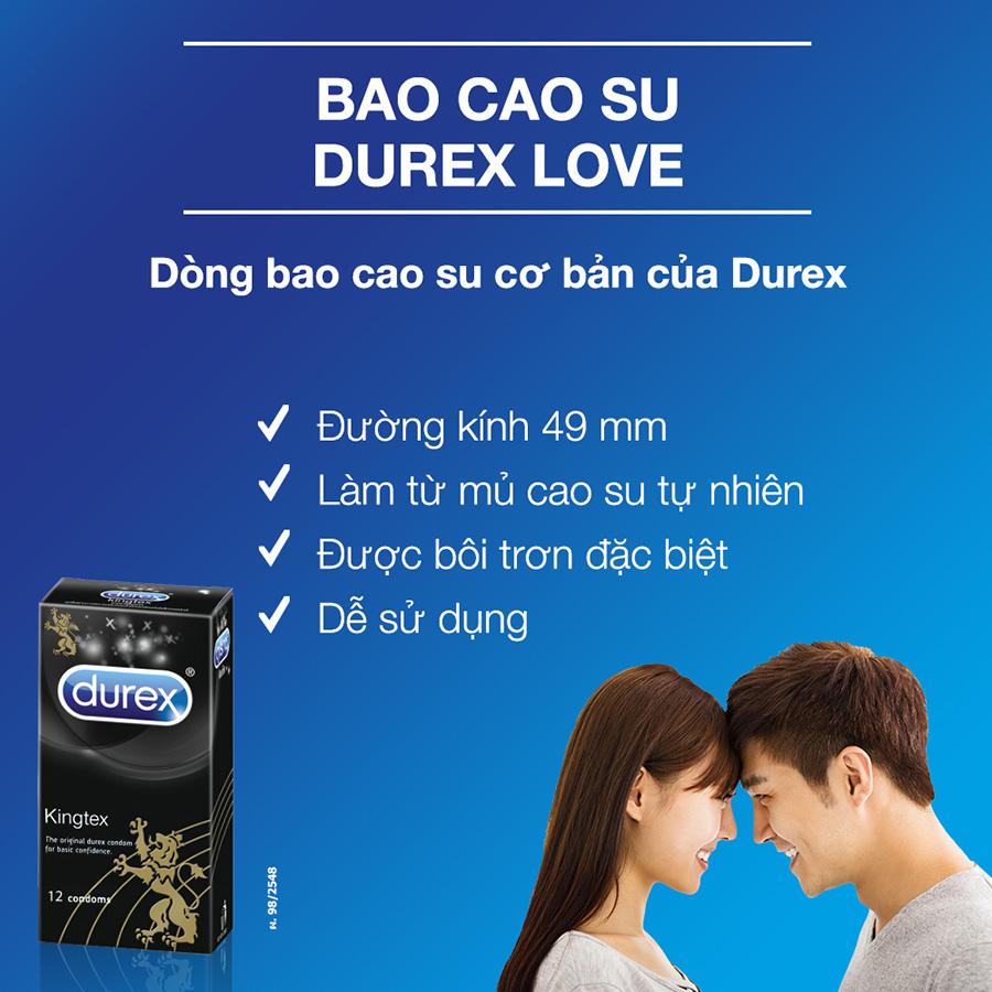 Bao cao su size nhỏ Durex Kingtex - Ôm khít không lo tuột bao hộp 12 chiếc nhập khẩu