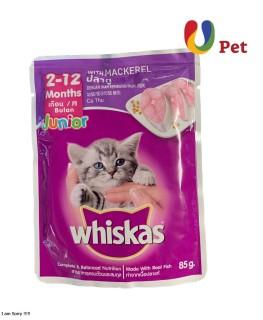 Thức Ăn Cho Mèo Sốt Whiskas Cho Mèo 2 - 12 Tháng Vị Cá Thu 85g Túi - U pet thumbnail