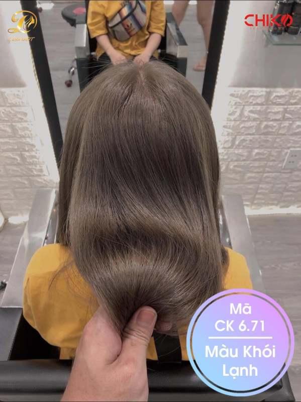 Thuốc nhuộm tóc màu khói lạnh (CK 6.71) KHÔNG TẨY + TẶNG kèm trợ nhuộm 100ml cao cấp