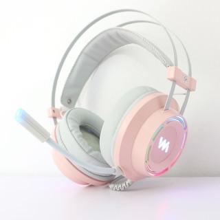 Tai nghe chụp tai WANGMING 9800S - Dây USB âm thanh 7.1 - Có màu hồng - Led RGB cực đẹp thumbnail