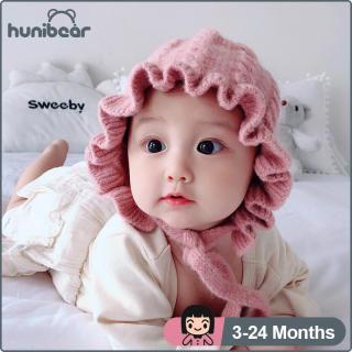 Mũ len Hunibear dành cho bé gái từ 3 đến 24 tháng tuổi phù hợp mang để giữ ấm trong mùa thu đông - INTL