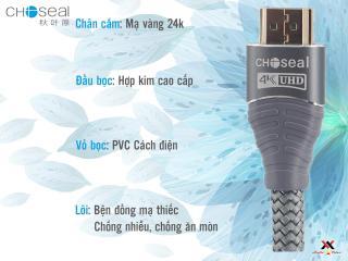 Cáp HDMI Choseal 2.0 4K Cao Cấp loại tròn 5m dành cho Tivi máy tinh 3D 4k Máy Chơi Game PlayStation Xbox đầu HD Box Đầu Android Tv Smart máy chiếu 6