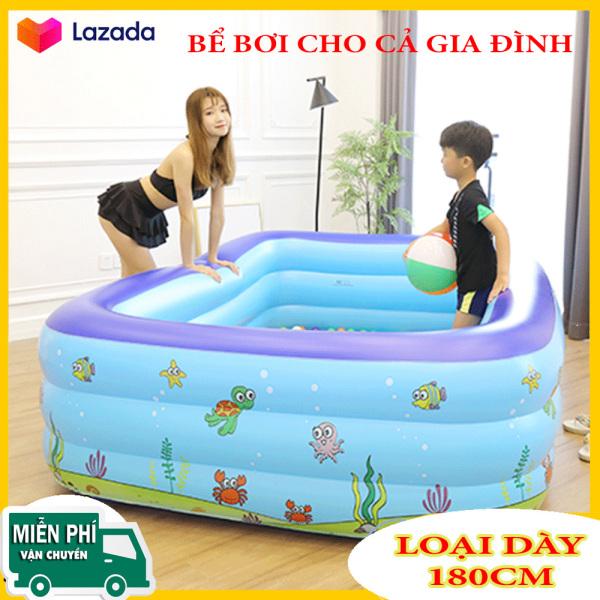 Hồ Bơi Cỡ Lớn 180cm - Bể  3 tầng hình chữ nhật 1m8, bể bơi phao trong nhà, gia đình, hồ bơi bể tắm cho bé cho trẻ em tập bơi.