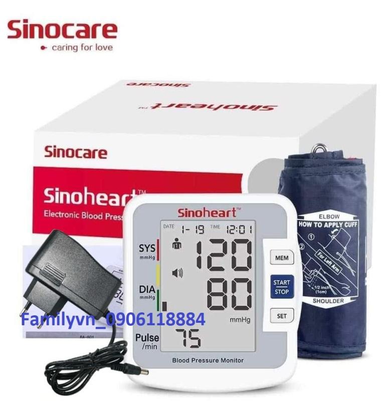 Máy đo huyết áp bắp tay Sinoheart BA-801 - Sinocare Công nghệ Đức + Tặng bộ đổi nguồn AC 220V