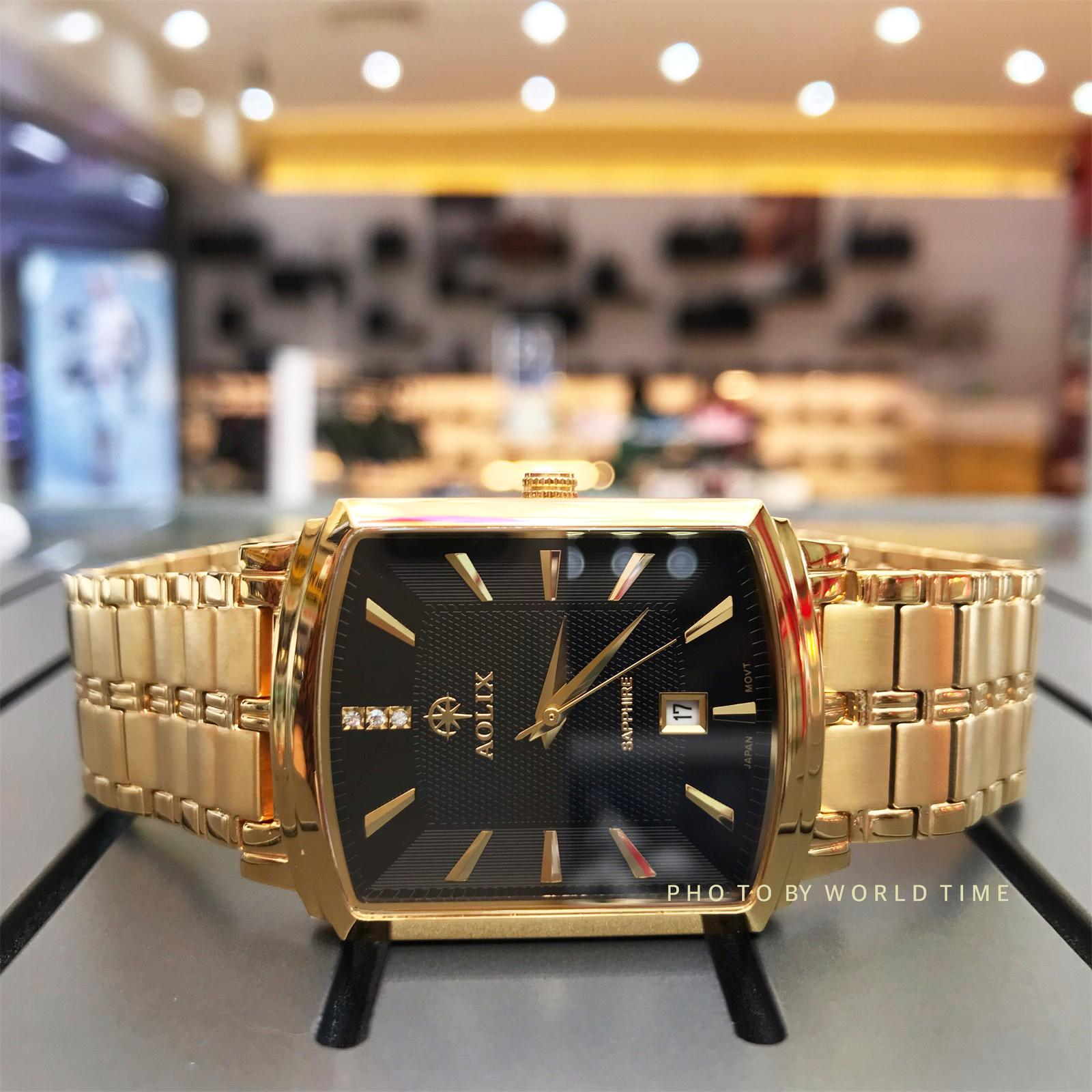 Nơi bán Đồng hồ nam Aolix AL9099G  Full Hộp ,Thẻ Bảo Hành Hãng, Kính Sapphire Chống Xước Chống Nước, Mặt Đen Màu Vàng Dây Thép