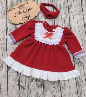 Váy đầm đỏ kèm băng đô