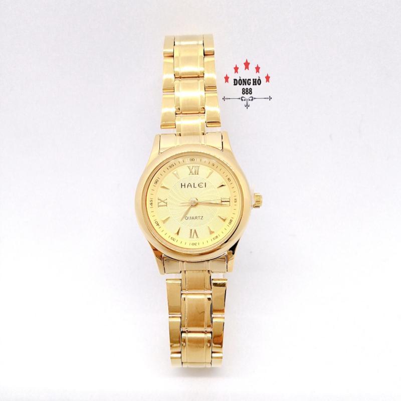Đồng hồ nữ HALEI dây kim loại thời thượng ( HL489 dây vàng mặt vàng ) - Kính Chống Xước, Chống Nước Tuyệt Đối, Mạ PVD Cao Cấp Chống Gỉ Chống Phai Màu Thời Trang Hottrend 2020