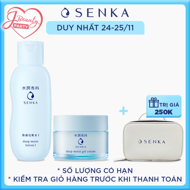 Bộ sản phẩm Senka dưỡng ẩm và ngăn ngừa lão hóa da vào buổi tối (Senka Deep Moist Lotion I và Senka Deep Moist Gel Cream) giá rẻ