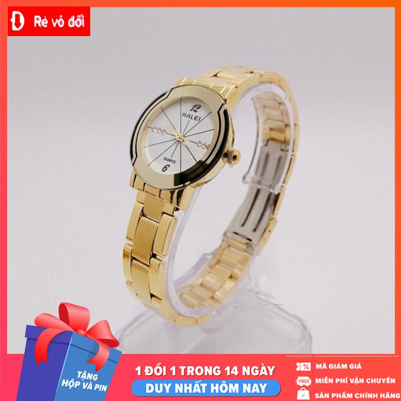 [MIỄN PHÍ GIAO HÀNG] Đồng hồ nữ mặt tròn Halei dây kim loại,chống nước ,chống xước tuyệt đối, sang trọng lịch lãm -  Tặng hộp và pin dự phòng - Sam Shop
