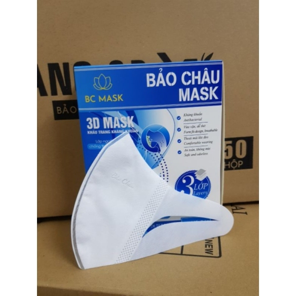 Hộp 50 Chiếc Khẩu Trang 3D Mask Kháng Khuẩn Bảo Châu Xịn Xò