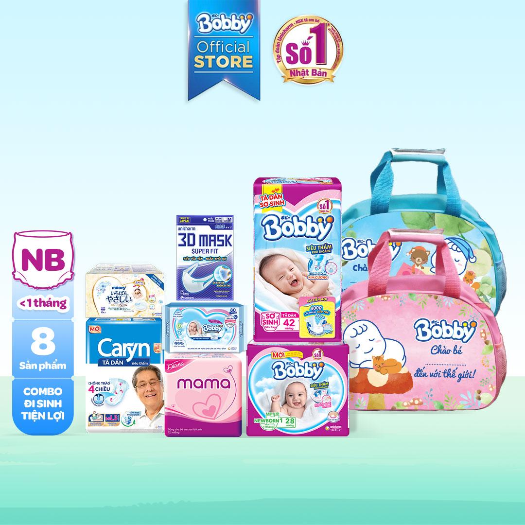[Freeship 20K đơn 300K] Combo Bobby mẹ đi sinh 6 món: túi đựng đồ + miếng lót + Tã cho bé + BVS cho mẹ+khăn ướt tiện lợi (0-5kg) - Giới hạn 5 sản phẩm/khách hàng