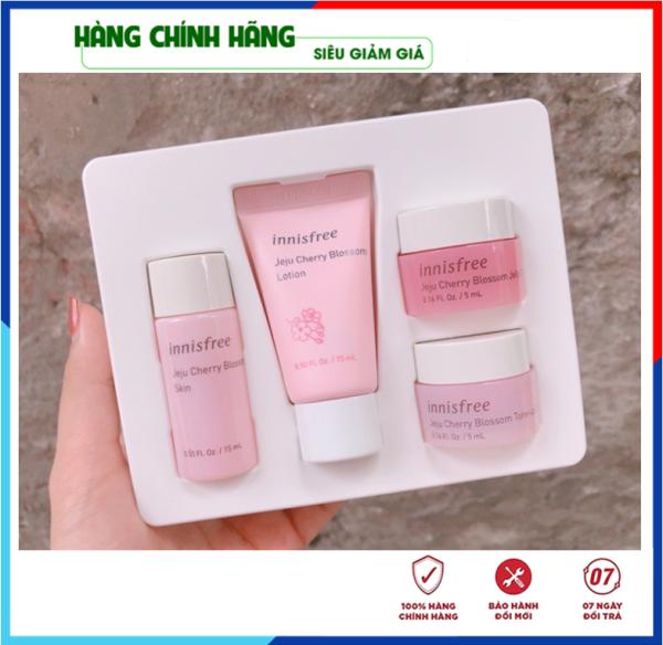 [Hàng Auth Hàn Quốc] Bộ Dưỡng Trắng Da - Bộ dưỡng da chiết xuất Từ Hoa Anh Đào Innisfree Jeju Cherry Blossom Kit cao cấp
