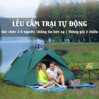 Lều Cắm Trại Dã Ngoại Tự Động 4 Người Lều Du Lịch 2 Cửa 2 Tầng Lều Kích Thước 2mx2m Chống Mưa, Chống Nắng Nóng Có Màn Chống Muỗi BH04 thumbnail