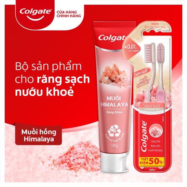 Bộ sản phẩm chăm sóc răng miệng Colgate từ thiên nhiên gồm kem đánh răng và 2 bàn chải từ muối Himalaya giá rẻ