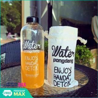 BÌNH NƯỚC DETOX Water PongDang 1L + TÚI ĐỰNG - Bình nước detox 1000ml, bình nước thể thao, bình nước nhựa trong suốt 1 lít có túi dây rút đẹp kèm theo thumbnail