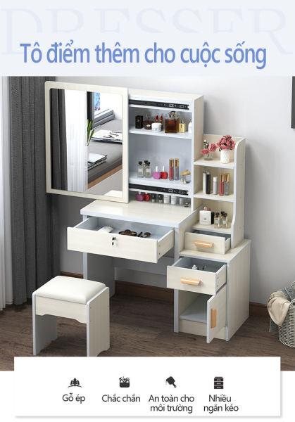 Bàn trang điểm bắc âu ngăn kéo lệch,thời trang đơn giản hiện đại tủ lưu trữ đa năng Bàn trang điểm đơn giản bằng gỗ